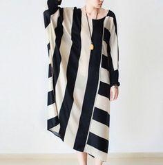 J25-Top-Design-Loose-Fit-Maxi-Long-Bat-Sleeve-Striped-Womens-Dress-Gown-Caftan