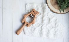 Rattle with Bell. Organic Wooden Teething Toy. Bear от tinyfoxhole