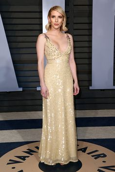 Emma Roberts from 2018 Vanity Fair Oscars After-Party  The actress attended the event in a yellow, sequined Prada dress.
