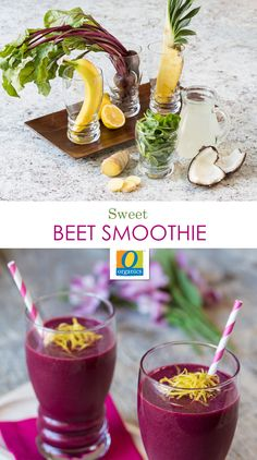 Sweet Beet Smoothie — Mix up your morning green drink with beets! Packed with antioxidants, fiber, Vitamin C and folic acid, this smoothie will keep you energized and on track all day. Top with lemon zest for the perfect garnish!