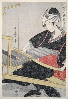 Kitagawa woodcut weaving on a loom