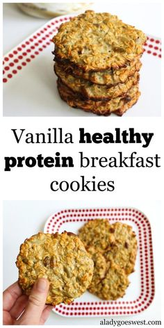 Six-ingredient vanilla healthy protein breakfast cookies Vanilla healthy protein breakfast cookies by A Lady Goes West Protein Muffins, Healthy Protein Breakfast, High Protein Snacks, Protein Foods, Healthy Snacks, Healthy Recipes, Protein Bars, Oatmeal Protein Cookies, Healthy Bars