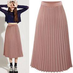 Buy Sexy Women Long Midi Pleated Skirt Elastic Waist Double Layer Chiffon Skirt at Wish - Shopping Made Fun Long Chiffon Skirt, Long Maxi Skirts, Pleated Midi Skirt, Summer Skirts, Dress Skirt, High Waisted Skirt, Waist Skirt, Tutu Skirt Women, Types Of Skirts