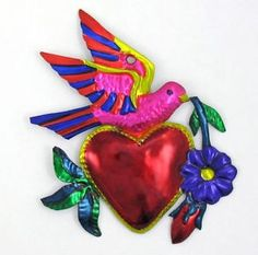 """Popular Folk Embroidery Mexican Folk Art """"Heart w Dove"""" Sacred Heart Milagro Tin Ornament EX Voto - Mexican Artwork, Mexican Folk Art, Mexican Christmas, Mexican Crafts, Paper Quilling Designs, Quilling Art, Mexico Art, Tin Art, Mexican Designs"""