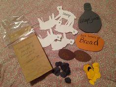 Авигея принесла Давиду дары (все упаковывается в мешочек, а по ходу истории достается).