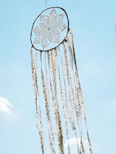 Dream catcher crochet lace white doily wall decoration by wincsike
