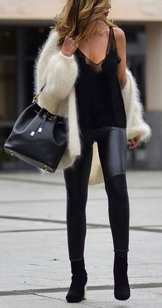 #winter #outfits /  White Wool Cardigan // Black Top // Leather Leggings // Black OTK Boots