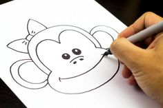How to draw a monkey, for kids!
