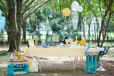 festa picnic azul e amarela na praça. decoração com tema de passarinhos para chá…