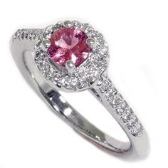 Pink Sapphire .69CT Diamond Engagement Vintage Pave by Pompeii3