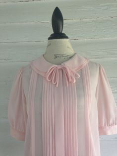 Vintage 1980s PINK Sheer Blouse with Double by runaroundsuevintage