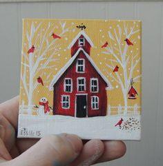 Cardinals in Winter w/ Folk Red House by EstellesPaintedTreas
