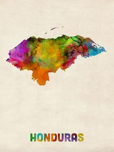 Trademark Art Honduras Watercolor Map by Michael Tompsett Graphic Art on Wrapped Canvas Size: Watercolor Canvas, Abstract Canvas, Artist Canvas, Watercolor Paintings, Map Canvas, Canvas Wall Art, Canvas Prints, Canvas Size, Utila