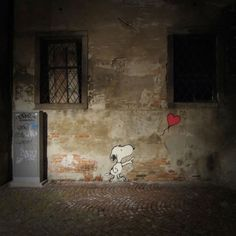 snoopy and a balloon street art