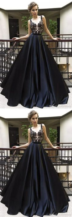 A-Line Black Satin Long Prom Party Dress with Appliques Grad Dresses Long, Prom Dresses For Teens, Prom Dresses 2018, Prom Party Dresses, Formal Dresses, Dress Prom, Trendy Dresses, Dance Dresses, Cheap Dresses
