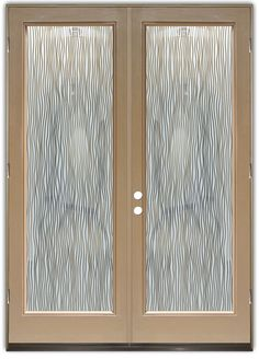 Water Trails Frosted Negative - Double Entry Doors Hand-crafted, sandblast frosted and 3D carved.  Available as interior or entry door in 8 woods and 2 fiberglass. Slab door or prehung any size, or as glass insert only.  Our fun, easy to use online Glass and Door Designer gives you instant pricing as YOU customize your door and glass!  When you're all finished designing, you can place your order right there online!  Doors ship worldwide from Palm Desert, CA