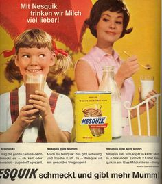 Zeitungswerbung für NESQUIK Kakaopulver .... Man beachte, dass die Milch dazu noch aus der Flasche kam. ---- Newspaper ad for NESQUIK chocolate powder - the milk was still sold in bottles