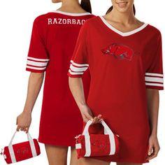 Arkansas Razorbacks Ladies Cardinal Nightgown & Mini Duffel Bag