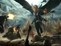 War Angel - wings, fire, plans, war, builets, guns, angel, winged