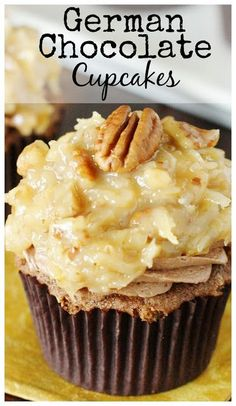 German Chocolate Cupcakes ~ chocolate cake, creamy chocolate frosting, & ooey-gooey coconut-pecan topping in every bite!   www.thekitchenismyplayground.com