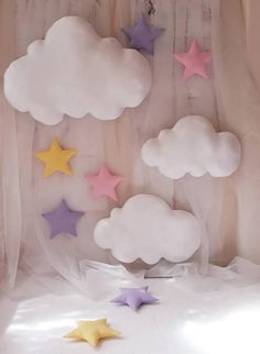 Set of 5 Clouds+ 5 stars wall hanging,clouds decor,photo prop,clouds nursery decor,white fabric clouds Baby Boy Photos, Newborn Pictures, Baby Pictures, Family Pictures, Girl Birthday Decorations, Balloon Decorations, Photography Backdrops, Photography Studios, Photography Marketing