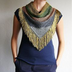 Five Colors Knitted Triangle Scarf / Tassels Gold Silver