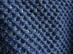 Chinese waves stitch co any odd number of stitches Row 1: Knit across (this is the right side) Row 2: *K1, Slip 1* repeat between * across, ending K1. Row 3: Knit across Row 4: K2, *Slip 1, K1* repeat between * until 3 stitches remain, Slip 1, K2.