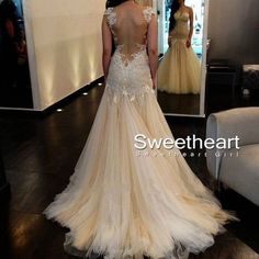 Amazing A-line Tulle Lace Long Prom Dresses, Lace Wedding Dresses., Dresses For Prom