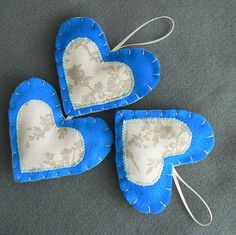 Something Blue 3 Felt Decorations Wedding by jmcvisions on Etsy