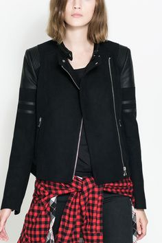 Zara women wool and leather jacket