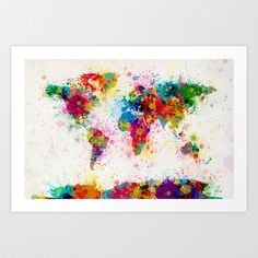 Map of the World Map Paint Splashes Art Print by ArtPause - $17.68