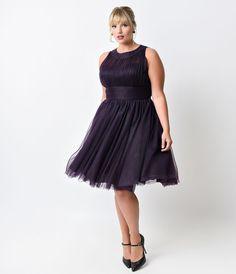 Iconic by UV Plus Size Eggplant Halter Roosevelt Swing Dress