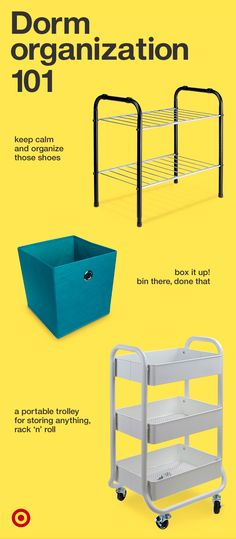 Give your college student storage bins, a utility cart & shelves to keep their dorm room organized.