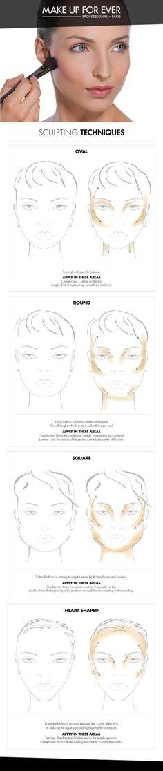 Makeup forever sculpting technique for your face shape.