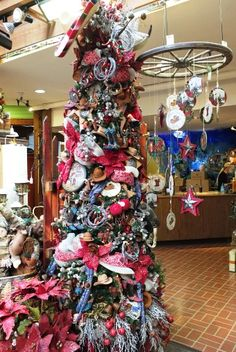 """Trees from the 2016 Wonderland of Christmas """"Mermaid Kisses and Starfish Wishes"""" """"Golden Glow"""" """"Precious Metals and Western Christmas Tree, Christmas Tree Themes, Christmas Holidays, Holiday Decor, Mermaid Kisses, Cowboys And Indians, Beautiful Christmas Trees, Western Decor, Tis The Season"""