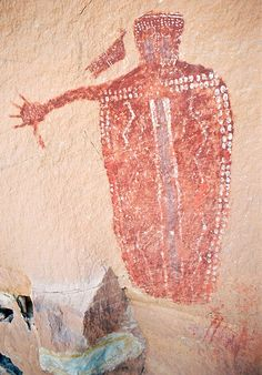 Thumbs Down Man: Barrier Canyon Style rock art paintings, Utah Native Art, Native American Art, Paleolithic Art, Cave Drawings, Primitive Painting, Fresco, Style Rock, Aboriginal Art, Ancient Artifacts