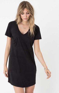 Z Supply Faux Suede Pocket Dress in Black ZD164217-BLACK