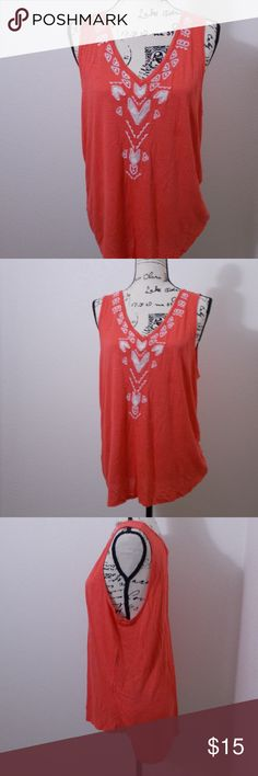 """sz. Large _ C Wonder coral sleeveless tank top C Wonder sleeveless tank top. coral with white embroidered design. 100% rayon  Size large - 19"""" pit to pit, 26"""" length  See photos for details. Smoke free, pet friendly home.   Please message me with any questions. Ask if additional size detail is needed.   15% discount for 3+ item bundles. Check out my closet. Happy Poshing!  588/O C Wonder Tops Tank Tops"""