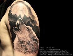 wolf howling tattoo by Pit Fun