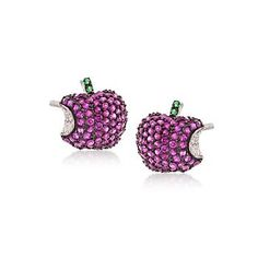 Ross-Simons - Round Simulated Ruby and 1.39 ct. t.w. Multicolored CZ Apple Earrings in Sterling Silver - #828469