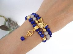 Set of Threes Bracelets,Night Blue Crystal Beads Bracelet,Beige Beads Bracelet,Gold Hand of Fatima Bracelet,Charm,Elegance,Christmas Gifts by sevinchjewelry on Etsy