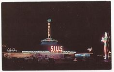 Las Vegas, Nevada Postcard SILLS DRIVE-IN RESTAURANT Night Scene c1950s Unused