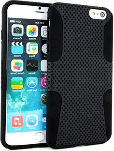 "myLife 2 Layer Neo Hybrid Bumper Case for iPhone 6 Plus (5.5"" Inch) by Apple {Obsidian Black ""Perforated Mesh Net Design"" Two Piece SECURE-Fit Rubberized Gel} myLife Brand Products http://www.amazon.com/dp/B00OYFQYJ8/ref=cm_sw_r_pi_dp_YK8vub1WRYQJK"