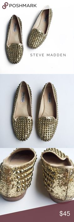 • steve madden gold spiked loafers • condition: pre-owned. these are in great condition with minor wear to interior from wear as shown in pictures. exterior is in great condition with no missing spikes or studs. material: leather. Steve Madden Shoes Flats & Loafers