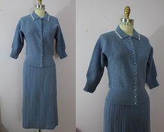 1940s 1950s Knit Suit / 50s Blue Knit Set / by livinvintageshop