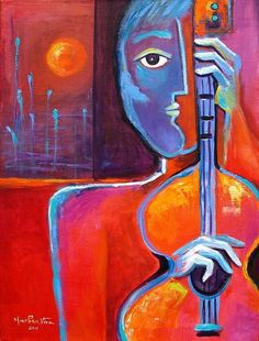 The Sunset Guitarist - Painting by Marlina Vera