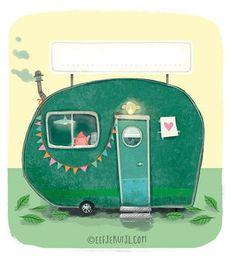 "Eefje Kuijl / illustration (@eefjekuijl_illustration) en Instagram: ""Little caravan #illustration"""
