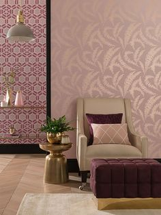 Felci Pink Stucco wallpaper encompasses delicate fern fronds in soft silhouettes creating a tonal leafy trail. Inspired by an original piece of artwork using the on trend cyanotype techniques. Paint And Paper Library, Cleaning Walls, Silhouette, Of Wallpaper, Modern Classic, Wall Design, New Homes, Design Inspiration, Wall Decor