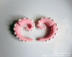 soft pink pastel octopus fake gauges by ilovecutecrafts on Etsy, $10.00