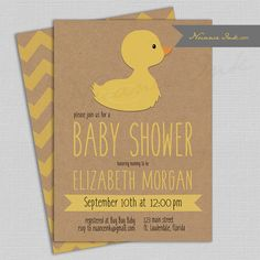 Duck Baby Shower Invitations gender nuetral yellow by NuanceInk